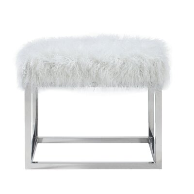 """Lanz Upholstered Bench Size: 17.5"""" H x 22"""" W x 18"""" L, Upholstery: Ivory"""