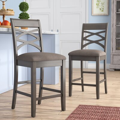 "Jeanine Wood Double Crossback 24"" Bar Stool"