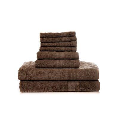 Mangine 8 Piece 100% Cotton Towel Set Color: Brown