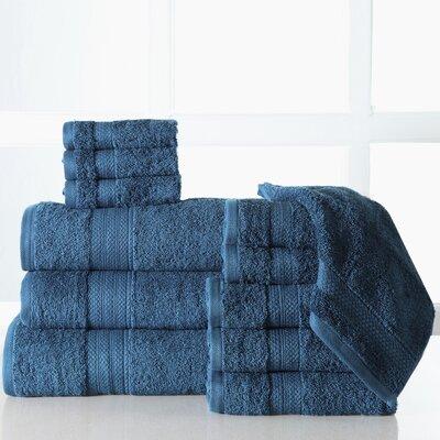Ziegler 12 Piece 100% Cotton Towel Set Color: Denim