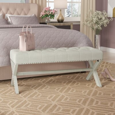 Hafer Tufted Nailhead Upholstered Bench Upholstery: Beige