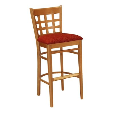 "30"" Bar Stool Upholstery Color: Howdy Taupe, Frame Color: Montana Walnut"