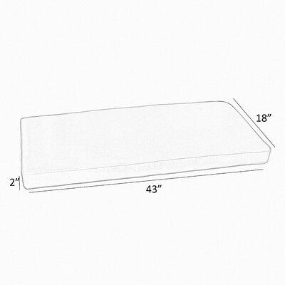 "Canvas Indoor/Outdoor Sunbrella Bench Cushion Size: 2"" H x 43"" W x 18"" D"