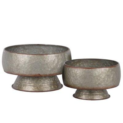 Enders Bellied Round Rust Effect Edges 4 Piece Metal Pot Planter Set