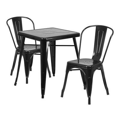 Guarino Indoor/Outdoor 3 Piece Dining Set Color: Black
