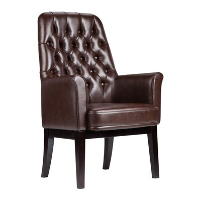 Dipalma High Back Traditional Leather Guest Chair Seat Color: Brown