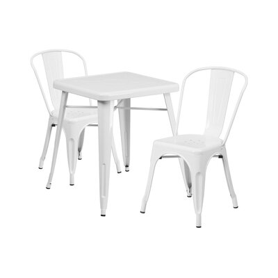 Guarino Indoor/Outdoor 3 Piece Dining Set Color: White