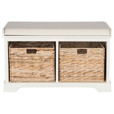 Alonza Pine Wood Storage Bench Color: Distressed White