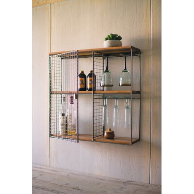 Griffis Square Wood and Wire Wall Mounted Wine Rack