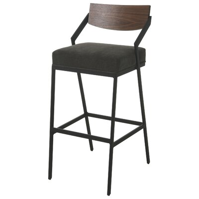 "Remington Bar Stool Size: 30"", Color: Black"