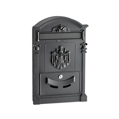 Coat of Arms Locking Wall Mounted Mailbox Mailbox Color: Black