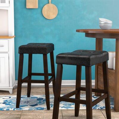 """Lyndale Saddle 29"""" Bar Stool Upholstery: Black"""