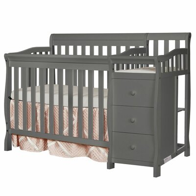 Jayden 4-in-1 Convertible Mini Crib and Changer Combo Color: Gray