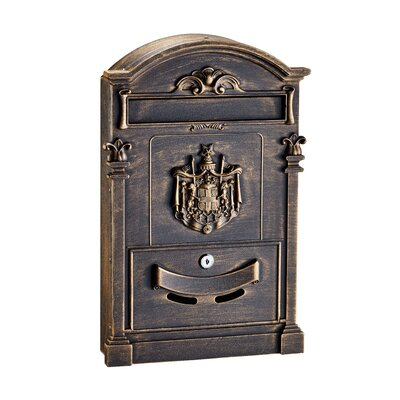 Coat of Arms Locking Wall Mounted Mailbox Mailbox Color: Bronze