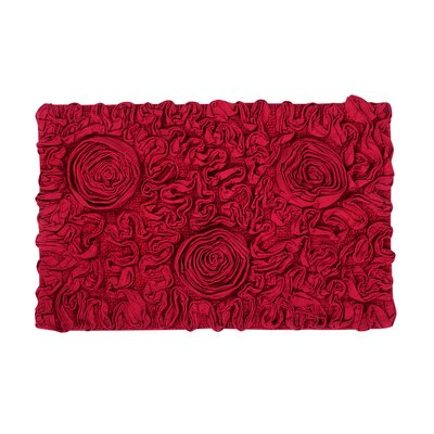 """Bell Flower Bath Rug Color: Red, Size: 24"""" W x 40"""" L"""