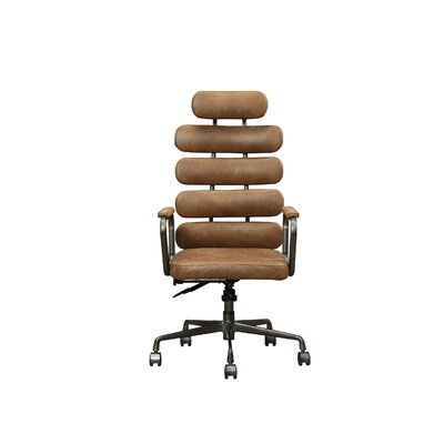 Demetra Leather Office Chair Upholstery: Retro Brown