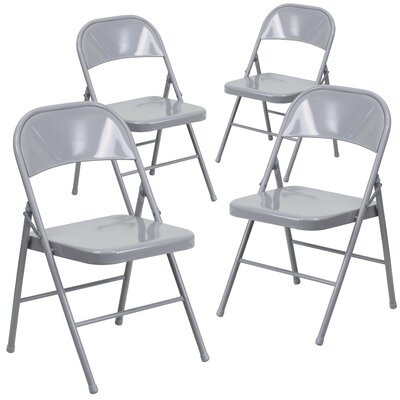 Laduke Double Braced Metal Folding Chair Color: Gray