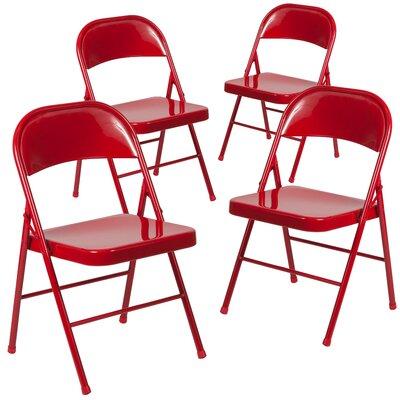 Laduke Double Braced Metal Folding Chair Color: Red