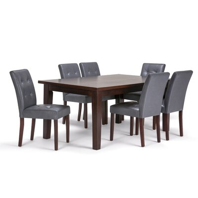 Andover 7 Piece Dining Set Chair Color: Stone Grey