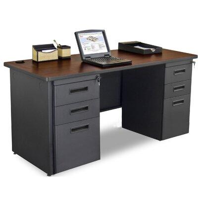 "Crivello Executive Desk Size: 29"" H x 60"" W x 24"" D, Color (Top/Frame): Oak Laminate/Black"