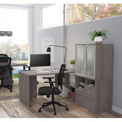 Prattsburgh L-Shape Desk with Hutch Color: Bark Gray