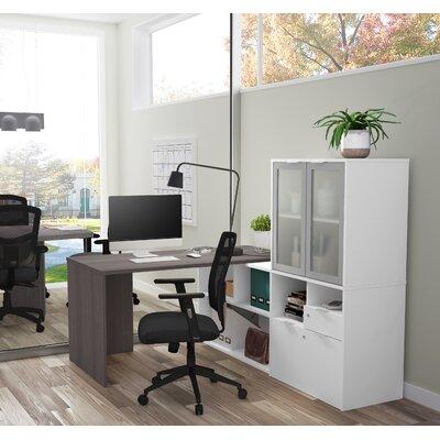 Prattsburgh L-Shape Desk with Hutch Color: Bark Gray & White