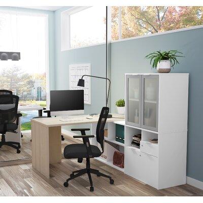 Prattsburgh L-Shape Desk with Hutch Color: Northern Maple & White