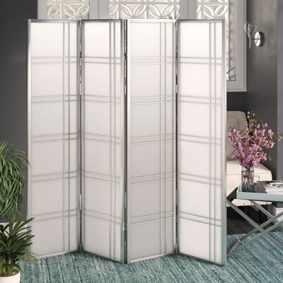 Lana 4 Panel Room Divider Finish: Silver