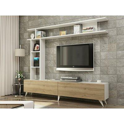"Demetria 71"" TV Stand Color: Walnut/White"