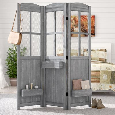 Peaslee 3 Panel Room Divider Color: Dark Gray