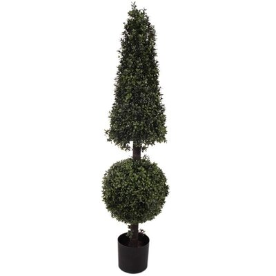 """Artificial Ball Cone Floor Boxwood Topiary in Pot Size: 52"""" H x 12"""" W x 12"""" D"""
