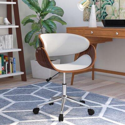August Mid Back Desk Chair Upholstery White