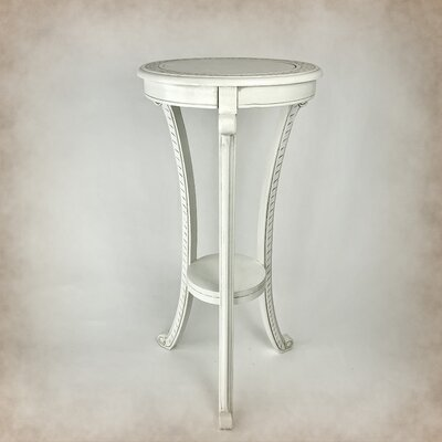 "Pedestal Telephone Table Size: 36"" H x 17"" W x 17"" D, Color: White"