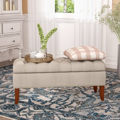 Mortensen Upholstered Storage Bench Color: Beige
