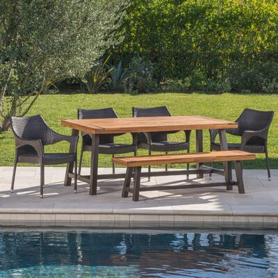 Delvecchio Outdoor 6 Piece Wicker Dining Set