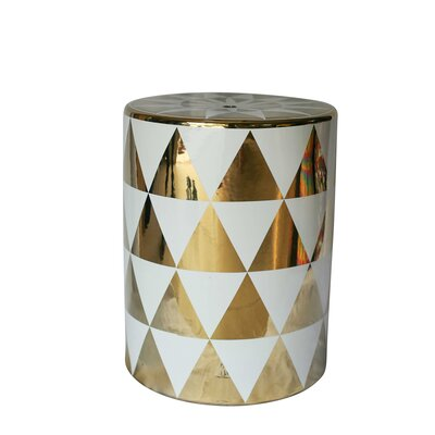 Ginsburg Stylish Garden Stool Color: Gold/White