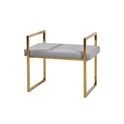 DeCoursey Contemporary Style Vanity Stool Frame Color/Top Color: Gold/Gray