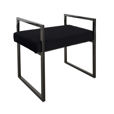 DeCoursey Contemporary Style Vanity Stool Frame Color/Top Color: Black