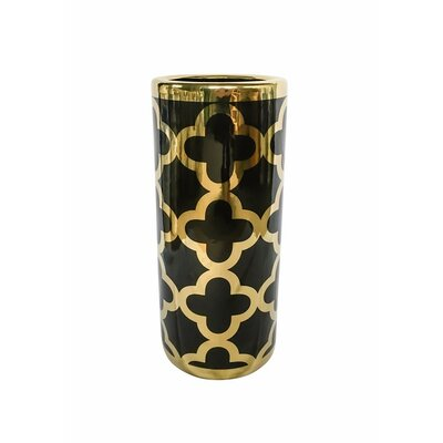 Karpinski Embellished Decorative Round Umbrella Stand Color: Black/Gold