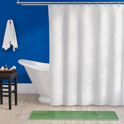 Darmstadt Damask Stripe Shower Curtain Liner Color: White