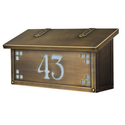 Pasadena Wall Mounted Mailbox Finish: Old Brass, Glass Color: Gold Iridescent