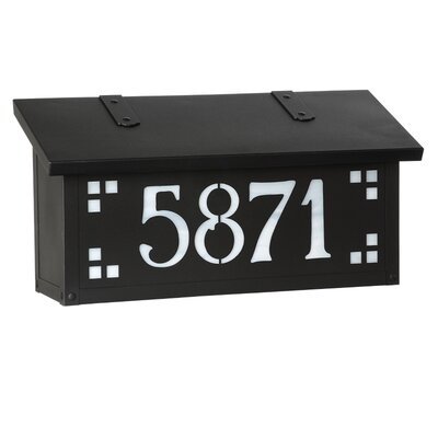 Pasadena Wall Mounted Mailbox Finish: Textured Black, Glass Color: Gold Iridescent