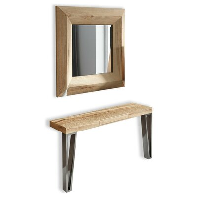 "Saybrook Console Table and Mirror Set Size: 31.5"" H x 31.5"" W x 15.6"" D"