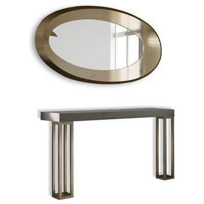 "Saybrook Console Table and Mirror Set Size: 31.5"" H x 39"" W x 15.6"" D"