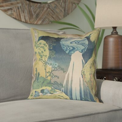 "Rinan Japanese Waterfall Square Pillow Cover Size: 14"" x 14"""