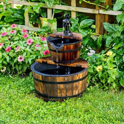 Wood 2-Tier Water Barrel Fountain