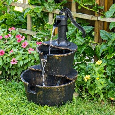 Resin 2-Tier Barrel Fountain