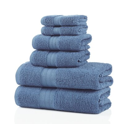 6 Piece 100% Cotton Towel Set Color: Blue