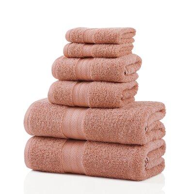 6 Piece 100% Cotton Towel Set Color: Peach
