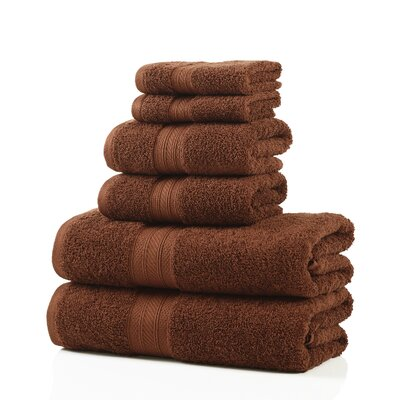 6 Piece 100% Cotton Towel Set Color: Brown